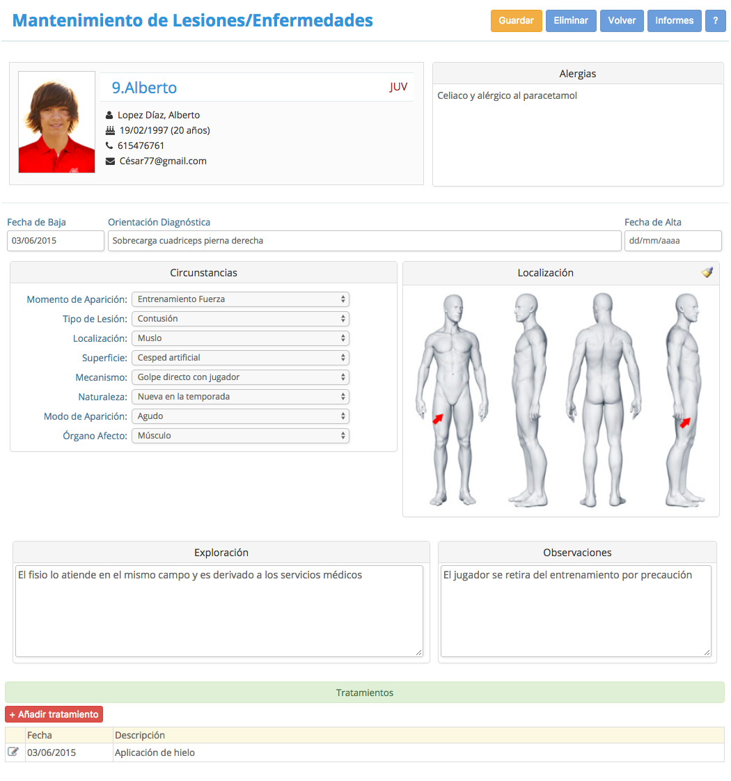CD Sportcab Marbella - Programa Gestión de Club - Parte-de-Lesion