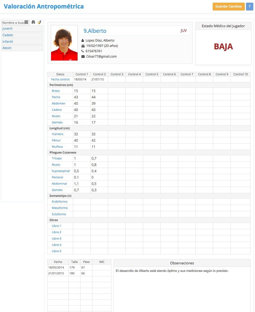 CD Sportcab Marbella - Programa Gestión de Club - Valoracion-Antropometrica